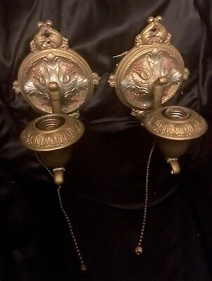 Pair Antique ART DECO Sconce Electric Light Wall Fixtures Cast Switched Painted