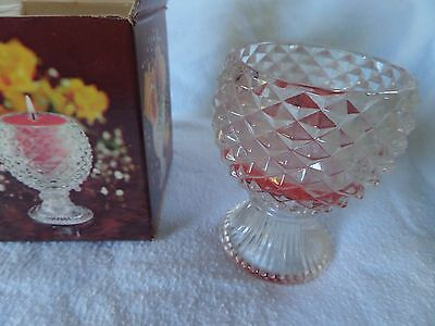 Vtg Facets of Light Avon Bayberry Candle Glass Candlette in Box Used