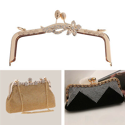 DIY Retro Metal Gold Kiss Clasp Lock Purse Bag Flower Frame Handle Crafts