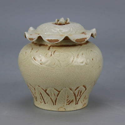 Chinese old hand-carved porcelain lotus leaf form Cover pot
