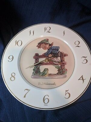 M I Hummel Clock Plate - Features boy and Frog