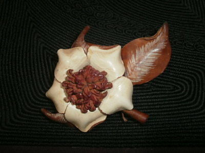 All Leather Hand Made Flora Ladies Brooch Pin