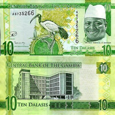 GAMBIA 10 Francs Banknote World Paper Money UNC Currency Pick p32 Bill Note