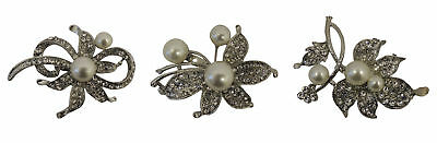 Classic VTG 1940s 50s style Silver Tone Rhinestone and Mock Pearl Floral Brooch