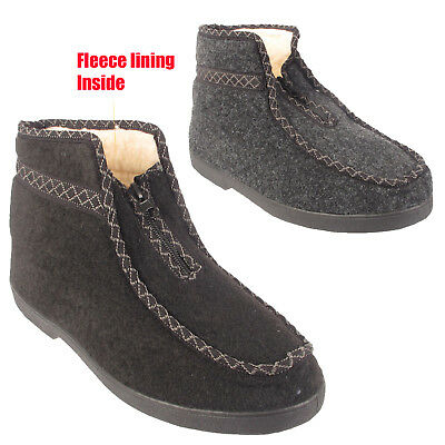Mens Slippers Ankle Fleece Fur Warm Lined Casual House Winter Boots Shoes Size