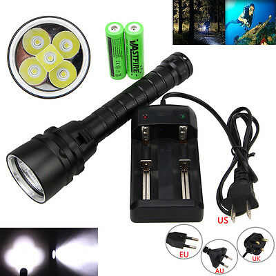 Super Bright 20000LM 5x XML T6 LED Scuba Diving Flashlight Torch Light  2*18650