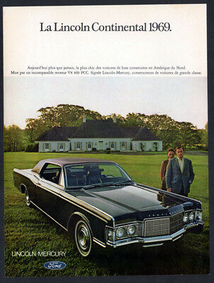 1969 LINCOLN Continental Vintage Original Print AD - Luxury car photo 2-door