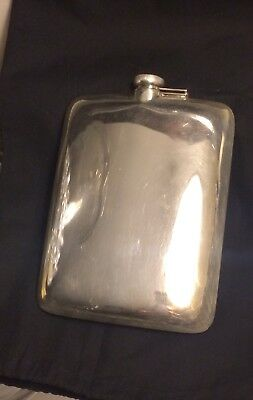 Large Sterling Silver Hip Flask 7/8 Pint 265 Grams