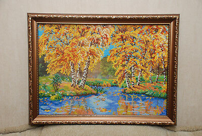 Handmade Completed Embroidery Beadwork Forest Autumn Gold Orange Picture Framed