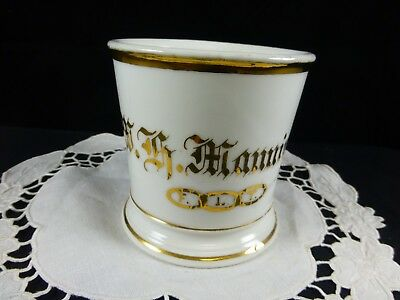 ANTIQUE PERSONALIZED SHAVING MUG Wm. Guerin & Co. Limoges - W. G. Manning