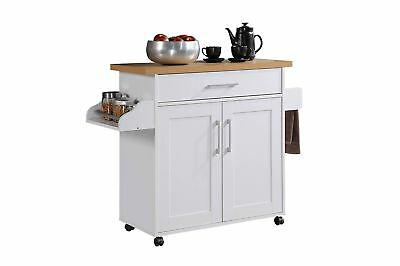 Large Kitchen Cart On Wheels Stainless Steel Top Rolling Island Buffet Portable