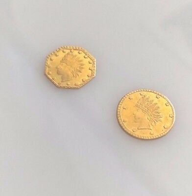 1853 California Gold Tokens-Two Coins-1 Round and 1 Octagonal -Actual Tokens