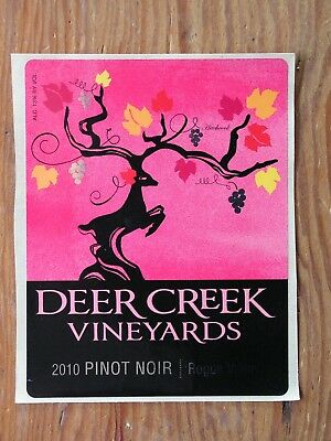 Deer Creek Vineyards ~New 2010 Pinot Wine Label Craft Winery Logo Decal Sticker~