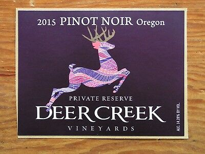 Deer Creek Vineyards ~New 2016 Pinot Wine Label Craft Winery Logo Decal Sticker~