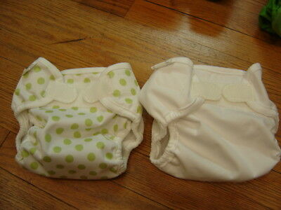 Bummis Super Whisper Wrap Lot of 2 Cloth Diaper Covers White and Green Dots