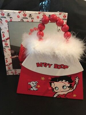 Betty Boop Wooden Jewelry Trinket Box Purse W/ A Mirror/Fur Trim Orig Box-RARE!!