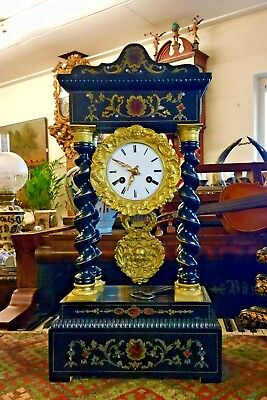 Antique French Column Portico Boulle  Gilded Bronze Bell Striking Mantle Clock