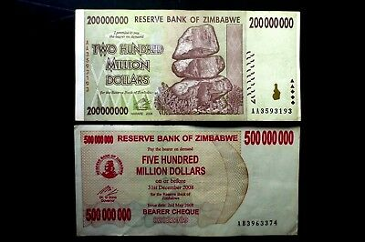 2 ZIMBABWE USED BANKNOTES FIVE & TWO HUNDRED MILLION DOLLAR ~BID 4 BOTH FROM 99p
