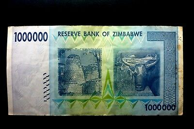 """ZIMBABWE VERY SCARCE """"USED"""" ONE MILLION DOLLARS BANKNOTE ~ BIDS FROM ONLY 99p"""