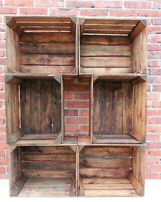 2, 3, 4, 6, 8,12 Strong&Solid Vintage Wooden Crates Fruit Apple Boxes Home Decor