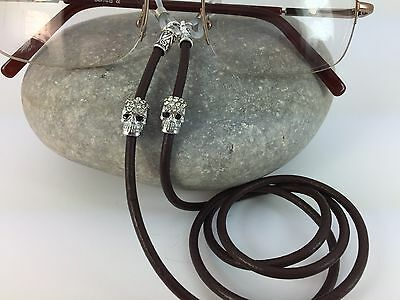 Black or Brown Leather Dimante Skull Glasses Chain Spectacles Lanyard