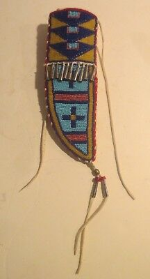 Native American Indian Beaded Buckskin Leather Knife Sheath With Metal Cones