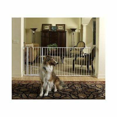 """Walk-Thru Pet Baby Dog Gate 37"""" to 60"""" Wide Long Safety Big Strong White New"""