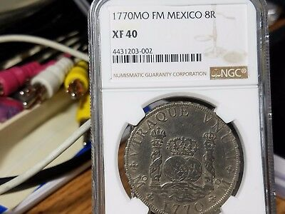 1770Mo FM 8 Reales Columnario Mexico,NGC Certified XF40.