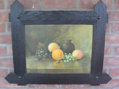 Craftsman Style Arts and Crafts Mission Oak Frame with Pastel Still Life