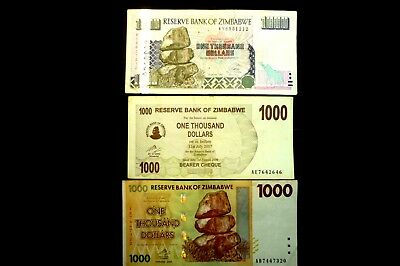 """3 DIFFERENT """"USED"""" ZIMBABWE $1000 ONE THOUSAND DOLLAR NOTES  ~BID FROM  FROM 99p"""