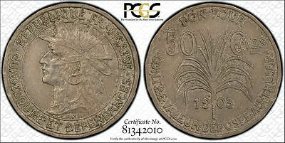 Guadeloupe 1903 50 Centimes KM#45 PCGS AU50  Attractive & well struck