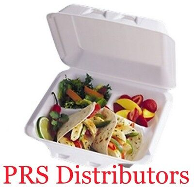"8 ""x8""x3"" Foam Hinged Lid 3-Compartment Deli Take-out Food Container 25 Pieces"