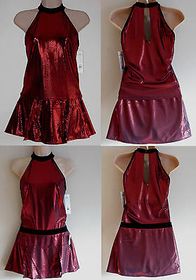 NWT AS UK 8 2 Piece Lycra Ice Roller Skating Dress Red Dance Costume Leotard