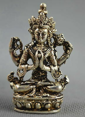 Collectable Handwork Decor Miao Silver Carve Gracious Lotus Buddha Lucky Statue