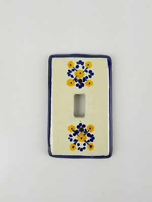 Vintage Blue And White Floral Porcelain Glossy Single Light Switch Plate Cover