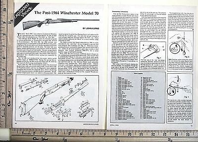 1989 THE POST-1964 WINCHESTER MODEL 70 gun EXPLODED VIEWS Magazine Article 4635a