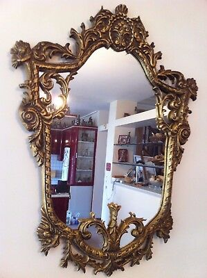 ANTIQUE VINTAGE MIRROR BRASS PLATED CAST METAL BEAUTIFUL 30 inches
