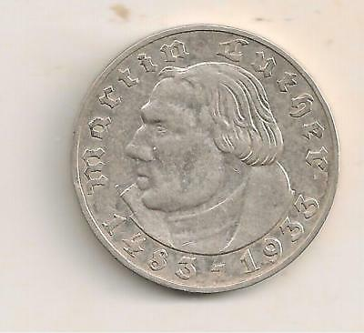 1933A Silver  2 Mark German Coin, 450Th Annversary Birth Of Martin Luther