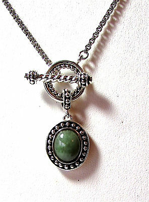 "Oriental Genuine Jade Fancy Heavy Thick Sterling Silver Toggle 16"" Necklace"