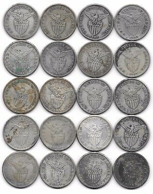20 Philippines One Peso Silver Coins: 1907, 1908, 1909 - Filipinas Crowns