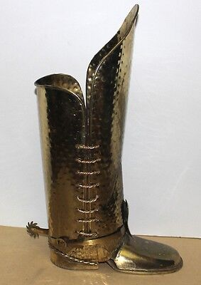 "hammered brass Coachman's or Cowboy Boot Umbrella Cane Stand 22"" vintage MCM"