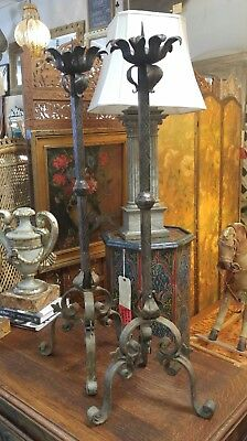 Pair Of Vintage Antique French Hand Wrought/cut Iron Tall Pricket Candle Stands