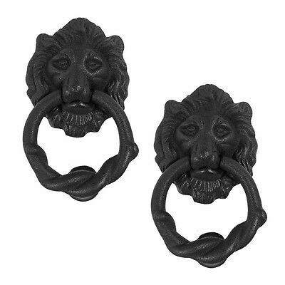 Door Knocker Black Cast Iron Lion Rustproof Finish 6 in. H Set of 2