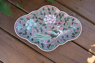 Chinese  dragon floral oval  trinket tray plate dish  oriental decor