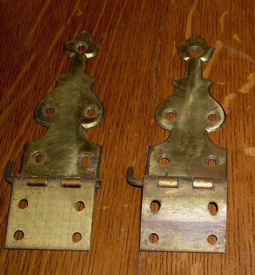 """(# 242) Pair Solid Brass Strap Hinge, Antique, Victorian Vintage, Size 13/4""""by5"""""""