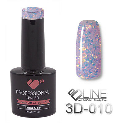 3D-010 VB Line Multicolour under Glass Glitter - gel nail polish - super polish