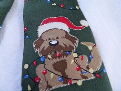 Little Boys J Khaki 100% silk Christmas Necktie zipper Puppy Santa Hat Lights