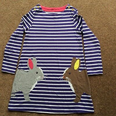 Girls Mini Boden Rabbit Bunny Striped Purple Dress Tunic, Age 7-8