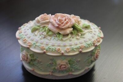 Vtg San Francisco Music Box Co. Pink Shabby Rose Musical Trinket Jewelry Box
