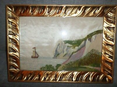 Antique 19th Century Nautical Folk Art Needlepoint Maritime Continental NR